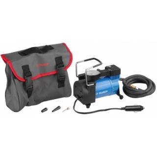 Компрессор ЭКСПЕРТ автомобильный давление -10 атм, длина провода -3 м, длина шланга -2 м, -3 насадки Зубр